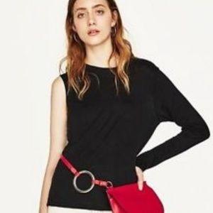 Zara Asymmetrical Sleeve Top